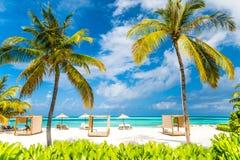 充满太阳床和松弛心情的美好的海滩日落 库存图片