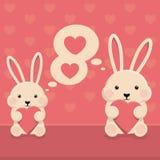 充满心脏爱的兔子兔宝宝 免版税库存图片