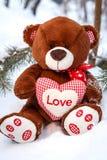 充满心脏爱的蓬松逗人喜爱的软的玩具玩具熊在雪 免版税库存图片