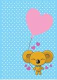 充满气球爱的逗人喜爱的考拉 免版税库存照片