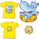 充满滑稽的河马爱的孩子衬衣打印的 免版税库存图片