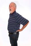 充满背部疼痛的成熟人 免版税库存图片