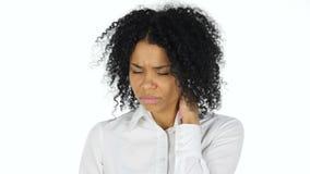 充满脖子痛的疲乏的黑人妇女 股票录像
