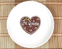 充满西班牙文本爱的甜心曲奇饼 库存照片
