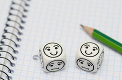 充满铅笔和心情的开放练习本把显示愉快的面孔切成小方块 库存照片
