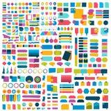 兆套infographics平的设计元素,计划,图,按钮,讲话起泡,贴纸 库存例证