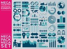 兆收藏和兆集合Infographic元素传染媒介设计 免版税图库摄影