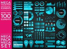 兆收藏和兆集合Infographic元素传染媒介设计 免版税库存照片