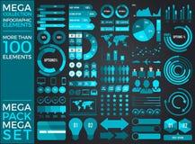 兆收藏和兆集合Infographic元素传染媒介设计 免版税库存图片