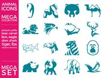 兆组装和兆集合传染媒介被设置的动物象 库存图片