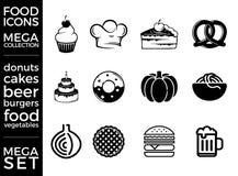 兆组装和兆集合传染媒介被设置的食物象 免版税库存图片