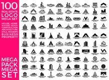 兆集合和大小组、房地产、大厦和建筑商标传染媒介设计 向量例证