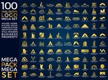 兆集合和大小组、房地产、大厦和建筑商标传染媒介设计 免版税库存图片