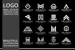 兆集合和大小组、房地产、大厦和建筑商标传染媒介设计 图库摄影