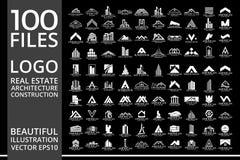 兆集合和大小组、房地产、大厦和建筑商标传染媒介设计 免版税库存照片