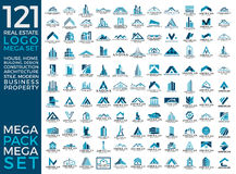 兆集合和大小组、房地产、大厦和建筑商标传染媒介设计 库存照片