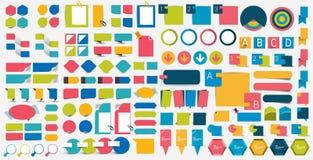 兆集合infographics平的设计元素,计划,图,按钮,讲话起泡,贴纸 库存例证