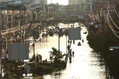兆洪水在曼谷。 库存图片