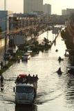 兆洪水在曼谷。 库存照片