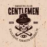 先生们吸烟者棍打与头骨的传染媒介象征 皇族释放例证