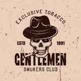 先生们吸烟者棍打传染媒介葡萄酒象征 库存例证