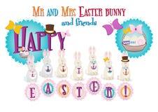 先生和夫人复活节兔子,卡片 免版税库存图片