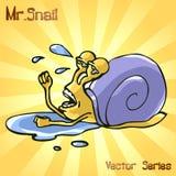 先生 与失败的蜗牛 也corel凹道例证向量 免版税库存照片