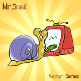 先生 与电视的蜗牛 也corel凹道例证向量 免版税库存图片