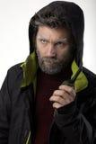 先生 送冰人侵略,他谈话在携带无线电话 免版税库存照片
