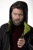 先生 送冰人侵略,他谈话在携带无线电话 免版税库存图片