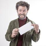 先生 送冰人,有胡子的,胡子微笑的人 免版税库存图片