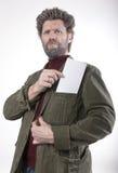 先生 送冰人,有胡子的,胡子微笑的人 免版税图库摄影