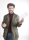 先生 送冰人,有胡子的,胡子微笑的人 免版税库存照片