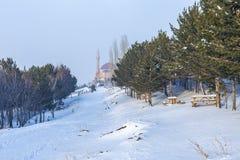 先知伴侣Adburrahman gazi清真寺和坟茔从森林在埃尔祖鲁姆,土耳其 库存图片