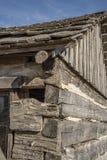 先驱原木小屋,减速火箭,老,日志,历史,西部村庄 库存照片