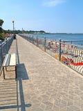 先驱,俄罗斯 散步的看法和城市在晴天靠岸 库存图片