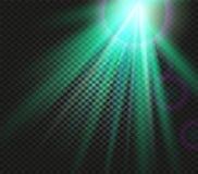 光亮的传染媒介绿色光线影响,发光在方格的背景,照明传染媒介例证放光 皇族释放例证