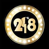 光亮的减速火箭的金子和黑圈子葡萄酒横幅与光在黑背景 新年2018年概念 免版税库存照片