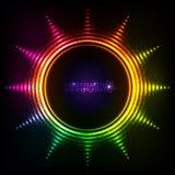 光亮的彩虹点燃抽象太阳框架 免版税库存照片