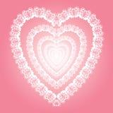 光亮的有花边的心脏,爱标志例证 免版税图库摄影