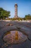 光亮的灯塔在Savudrija, Istria,克罗地亚 免版税库存图片