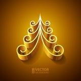 光亮的金黄3d圣诞树 免版税库存图片