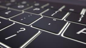 黑光亮键盘和行动钥匙移动式摄影车射击  概念性4K夹子 向量例证