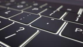 黑光亮键盘和许可证钥匙移动式摄影车射击  概念性4K夹子 向量例证
