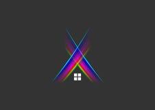 光听起来商标、房子、家、标志、夜总会、大厦、建筑和音乐演播室光芒构思设计 向量例证