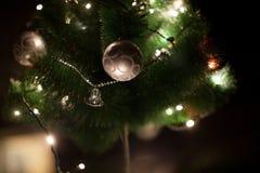 光和圣诞节在圣诞树戏弄有被弄脏的抽象黑暗的背景 库存图片