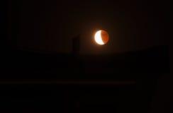 光和树荫月亮在月蚀 免版税库存照片