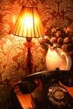 光和电话在晚上 库存照片