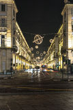 光和艺术通过Po,都灵 免版税库存照片