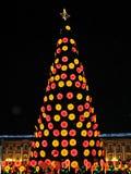 光和街道装饰在圣诞节时间在波哥大,哥伦比亚 图库摄影